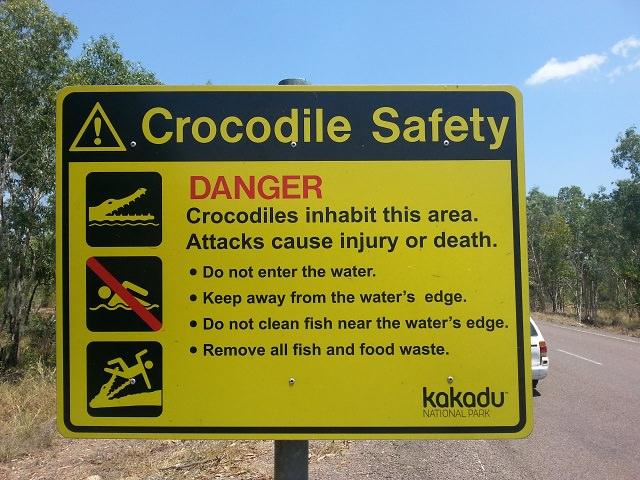 Kakadu National Park cartelli coccodrilli